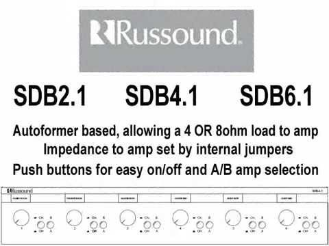 Russound SDB-6 1 - Dual Source Six Pair Impedance Matching Speaker Selector  with Volume Control